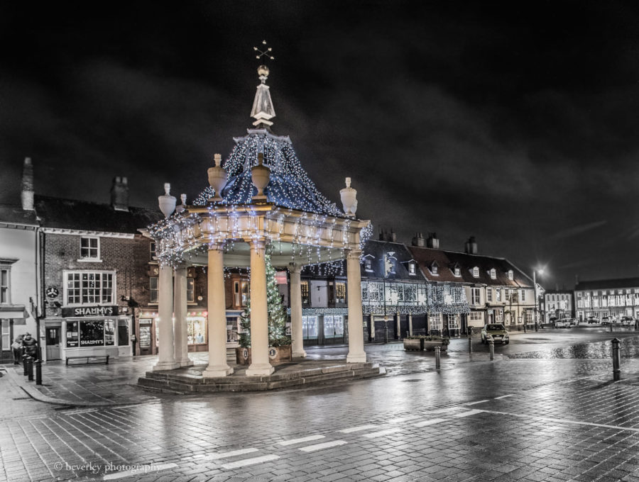 Market Cross With Christmas Lights