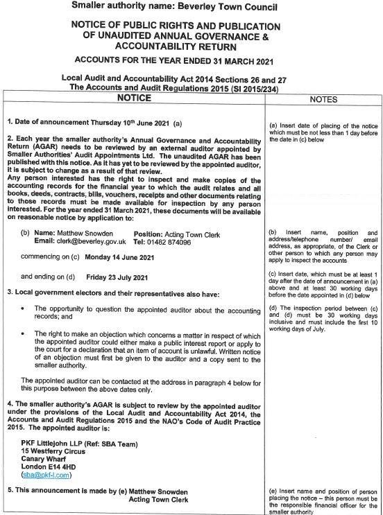 Public Notice 2020 21